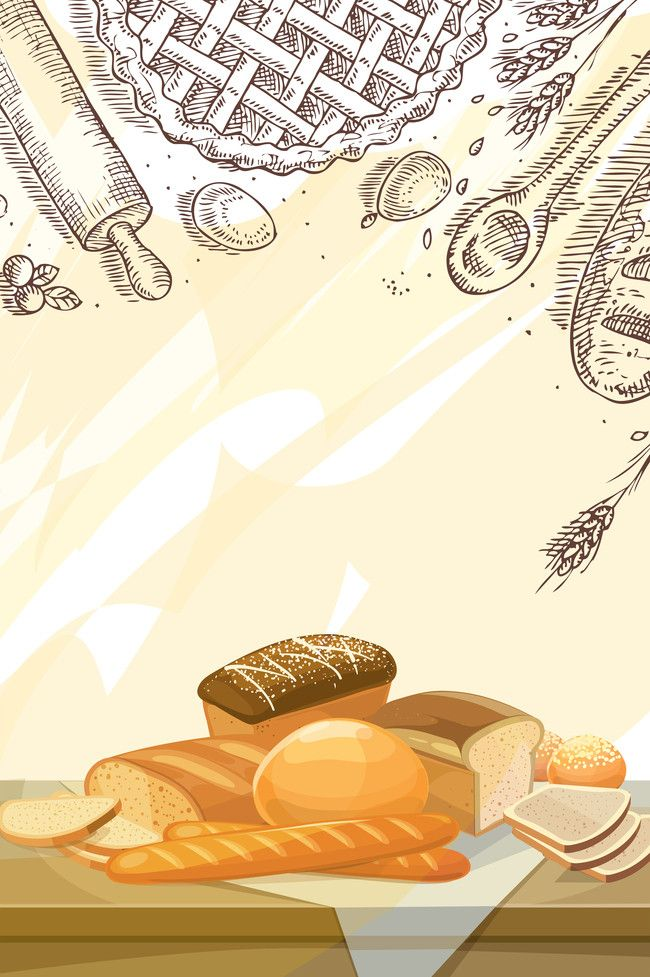 Hand Painted Bread Cartoon Vector Dessert Poster Background Material Food Background Wallpapers Poster Background Design Cartoons Vector
