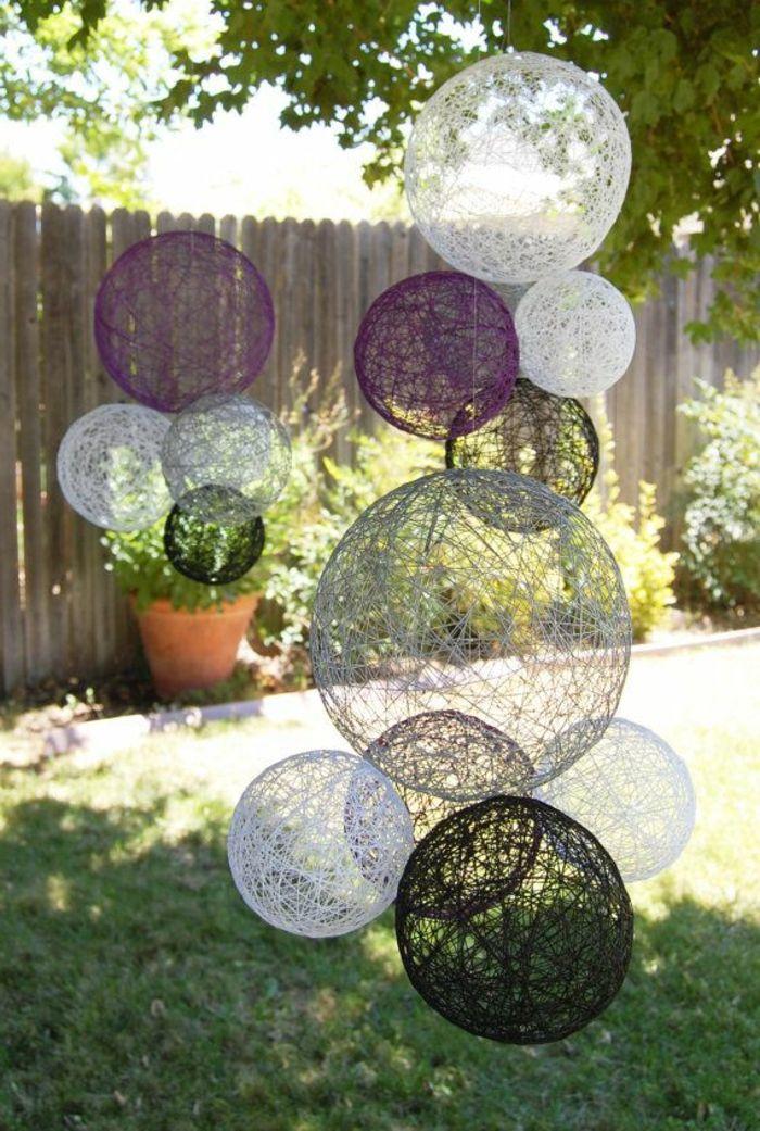 boules chinoises colorées, blanc violet, décoration de jardin, cour moderne