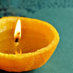 DIY orange candles tutorial.