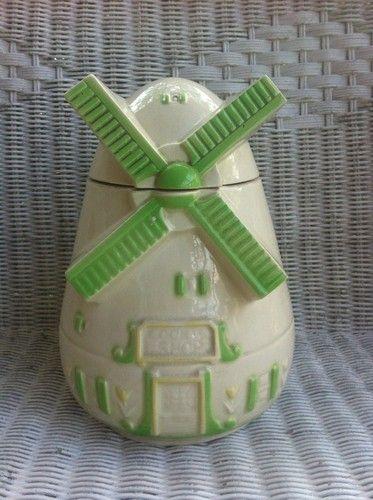 Vintage Fap Co Windmill Amp Tulips Ceramic Cookie Jar Rare