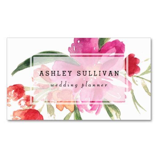 水彩画のピンクの花のPosyの花の名刺 スタンダード名刺