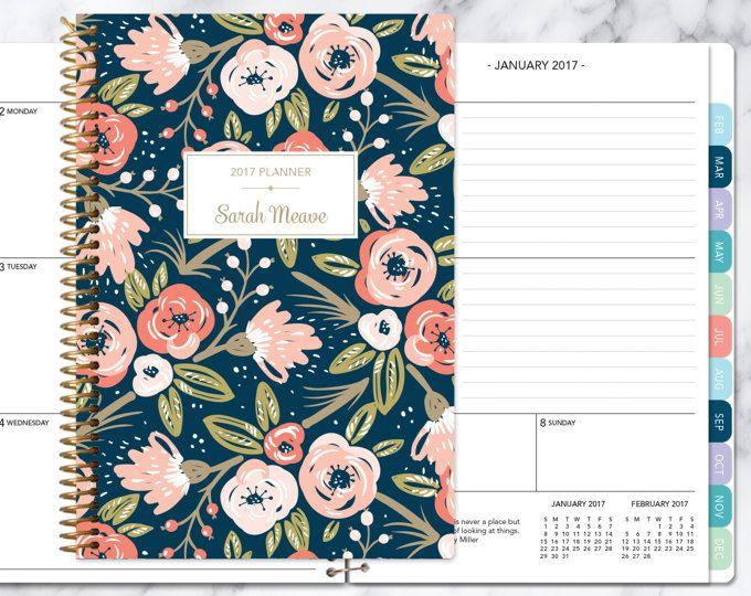 kalender van 2017 planner Kies start maand | maandelijkse tabbladen per student planner gepersonaliseerde agenda daytimer toevoegen | Marine roze goud bloemen