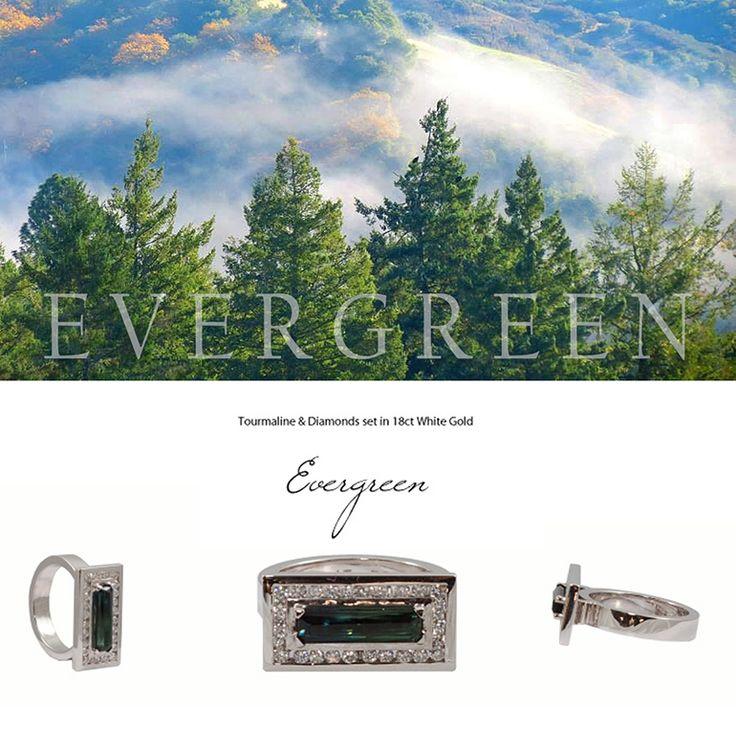 Evergreen - Tourmaline and Diamonds set in 18K White Gold