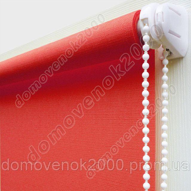 42,5 см х 170 см. Ткань Лен, красные. Рулонные шторы, Тканевые роллеты., фото 6