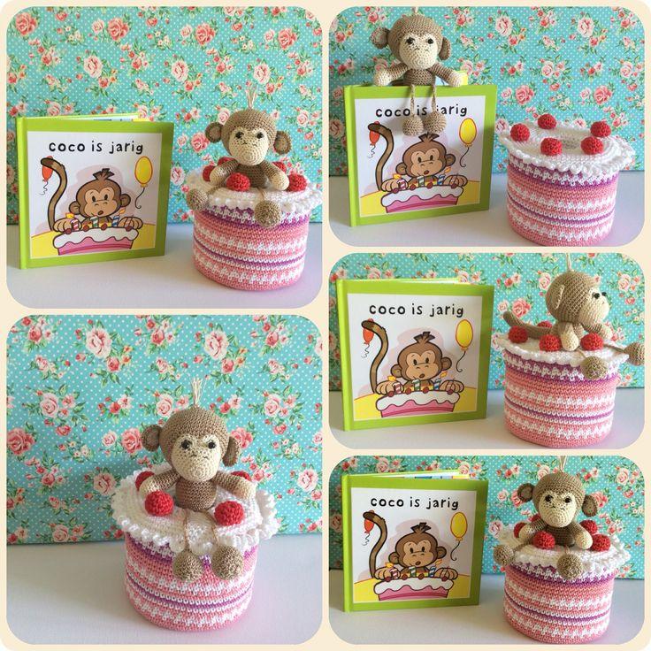 Amigurumi Happy birthday cake with Little Monkey inside the cake Made by Kriziwizi. Kriziwizi@hotmail.com