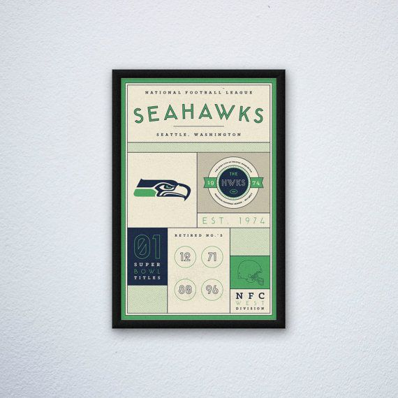 Seattle Seahawks Stats Print by DesignsByEJB on Etsy