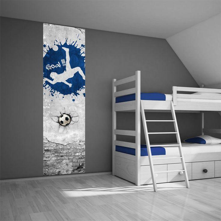 Muursticker paneel voetbal blauw - Voetbalkamer idee