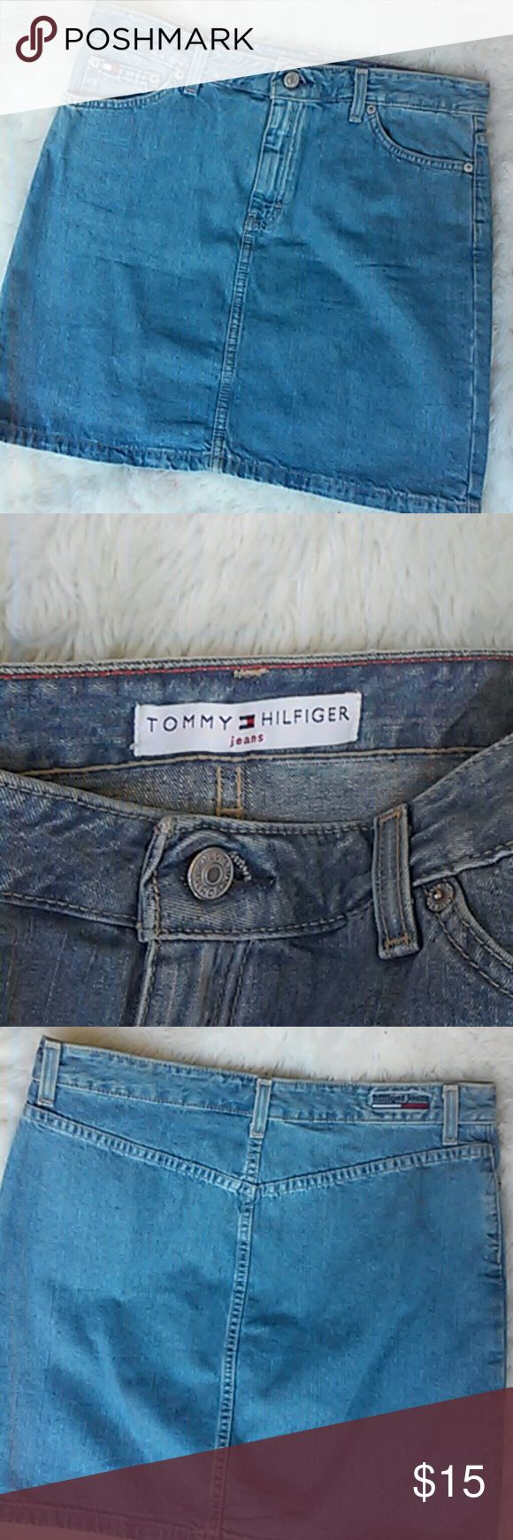 "Tommy Hilfiger Jean Skirt Fly front & 2 front pockets. 16""waist & 17.5""long Tommy Hilfiger Skirts Mini"