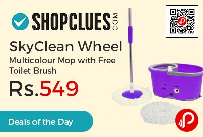 Shopclues #DealsoftheDay is offering 82% off on SkyClean Wheel Multicolour Mop with Free Toilet Brush at Rs.549 Only. New Easy Spin Bucket With Wheels & Handle And Mop Of High Quality & Machine Washable.  http://www.paisebachaoindia.com/skyclean-wheel-multicolour-mop-with-free-toilet-brush-at-rs-549-only-shopclues/