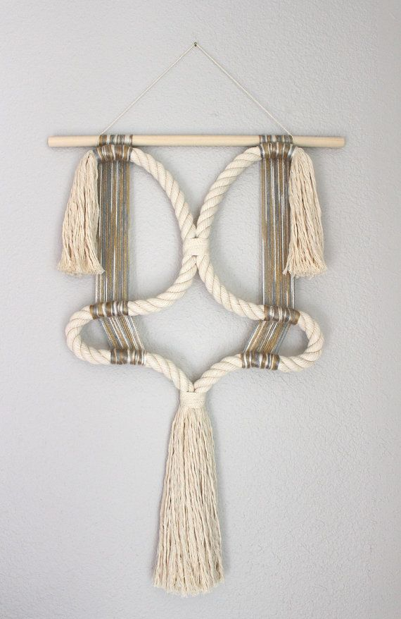 "Macrame Wall Hanging ""Attachment no.3"" by HIMO ART, One of a kind Handcrafted Macrame/Rope art"