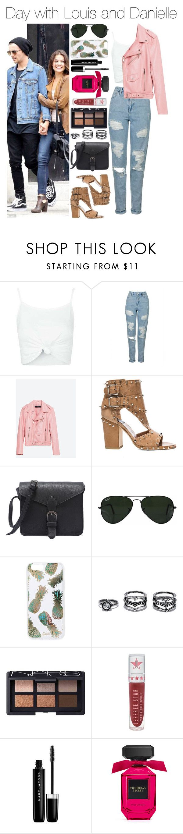 """""""Day with Louis and Danielle"""" by xhoneymoonavenuex ❤ liked on Polyvore featuring Topshop, Piel Leather, Laurence Dacade, Ray-Ban, Sonix, LULUS, NARS Cosmetics, Jeffree Star and Marc Jacobs"""