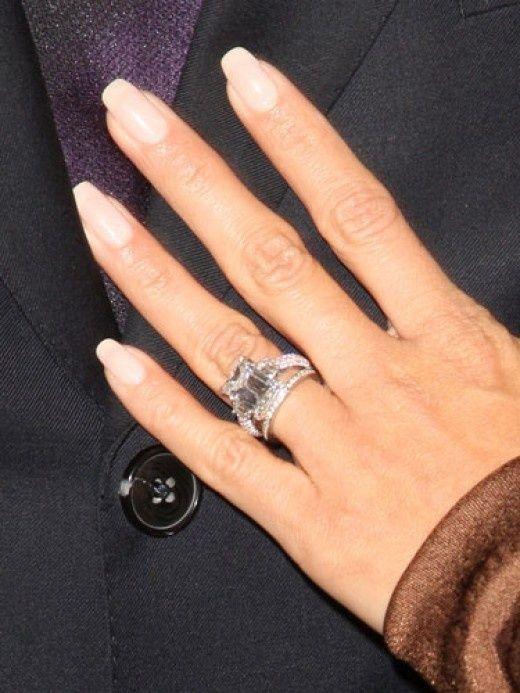 Eva Longoria Tony Parker Longoria Rings, French Manicures, Jewelry Engagement ring, Jean Dousset, Emerald Cut diamond, Platinum