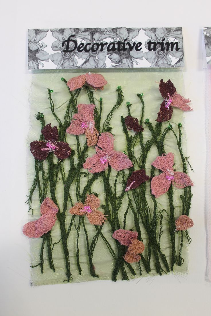 Trim collection sample machine embroidery on voile with