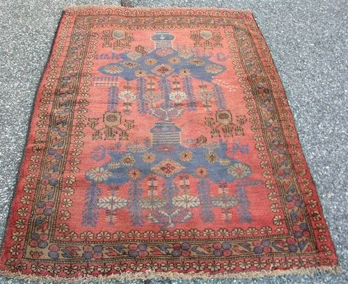 Unique Fine Old Antique Hand Knotted Wool Afghan Persian Oriental Rug 3 1 X 4