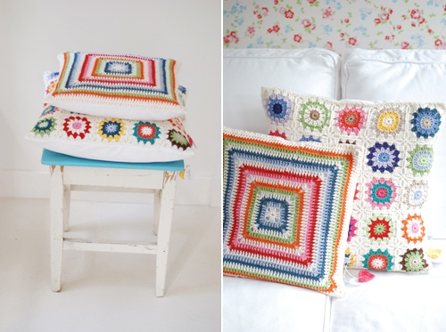 cushion like this for the girls beds - in red pink and light blue?