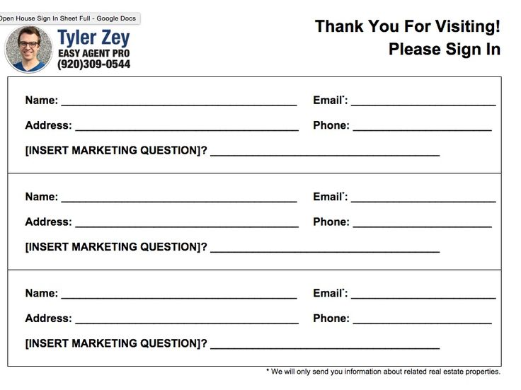 template for a sign in sheet