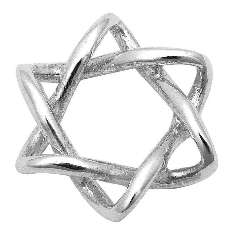 "0.5"" Star Of David Jewish Star Pendant Charm Solid 925 Sterling Silver Twisted Knot Design Plain Simple Jewish Star of David Jewelry"