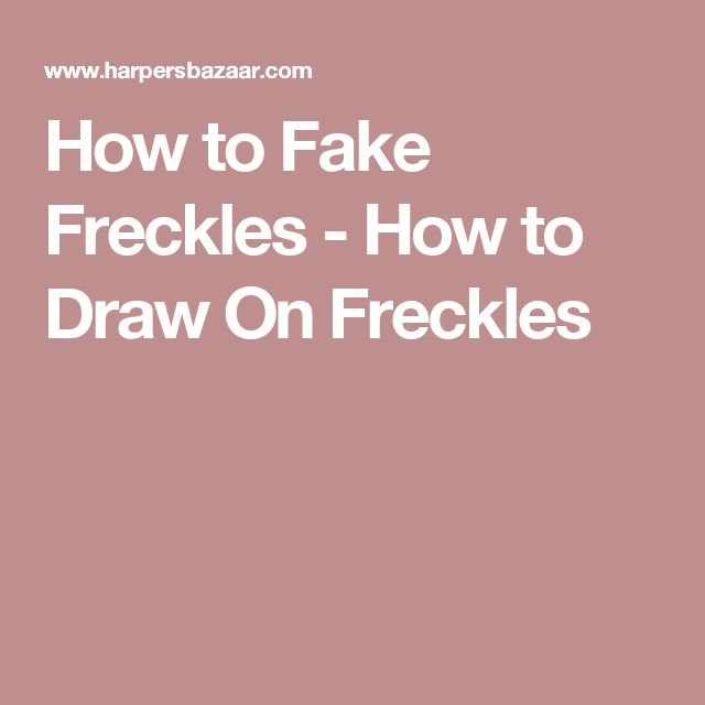 How to Fake Freckles - How to Draw On Freckles