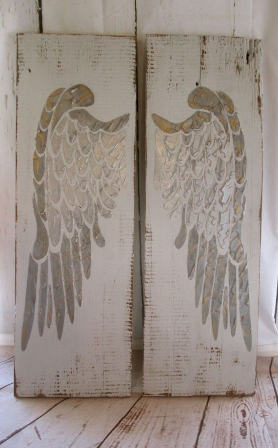 Large Distressed Wall Decor : Best ideas about angel wings wall decor on