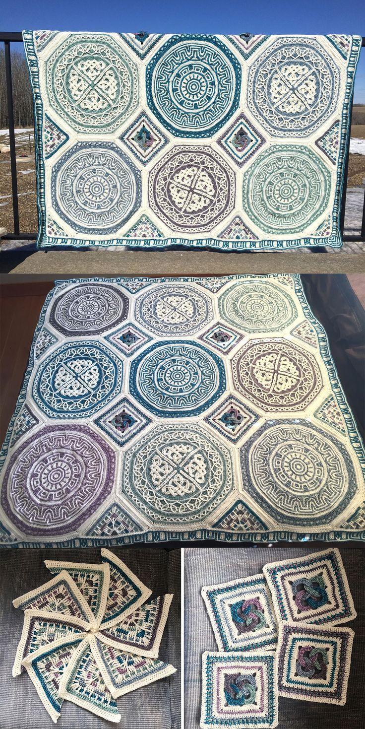 Labyrinth Celtic Mandala Blanket (overlay crochet). by @Taemombo