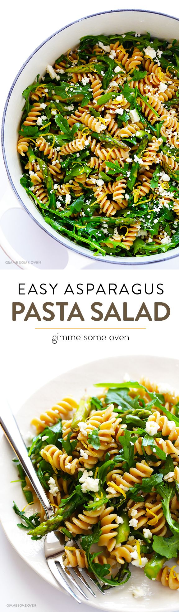 Asparagus & Arugula Pasta Salad -- easy to make, delicious, and perfect for spring! | gimmesomeoven.com