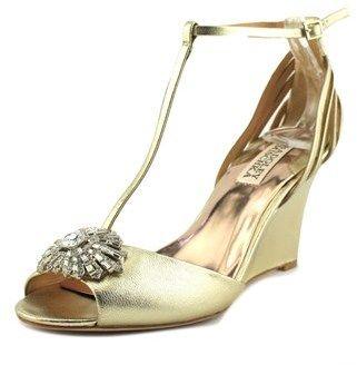 Badgley Mischka Milly Ii Women Open Toe Canvas Gold Wedge Heel.
