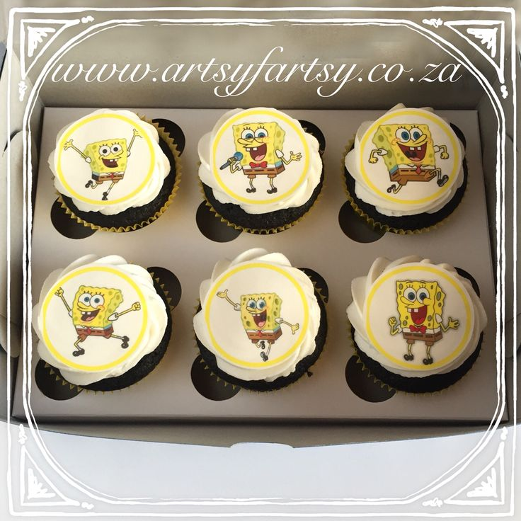 Sponge Bob Square Pants Edible Picture Cupcakes #spongebobsquarepantscupcakes