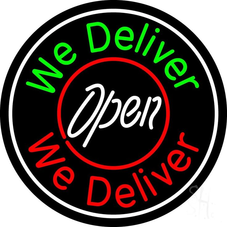 Round We Deliver Open Neon Sign 26 Tall x 26 Wide x 3 Deep, is 100% Handcrafted with Real Glass Tube Neon Sign. !!! Made in USA !!!  Colors on the sign are Green, Red and White. Round We Deliver Open Neon Sign is high impact, eye catching, real glass tube neon sign. This characteristic glow can attract customers like nothing else, virtually burning your identity into the minds of potential and future customers.