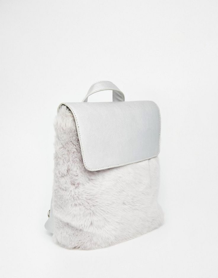 Image 2 ofSkinnydip Silver Backpack with Faux Fur Front