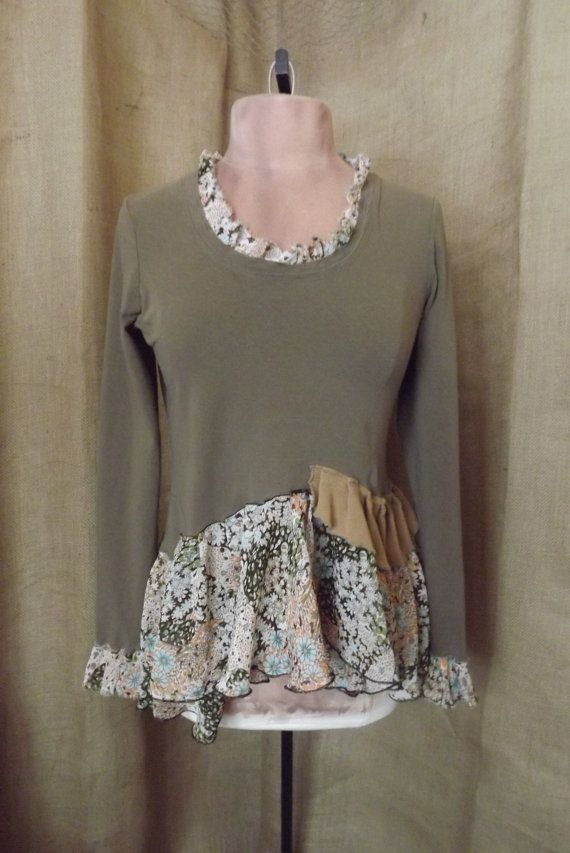 Lagenlook+2014 | Upcycled Lagenlook Ruffled Vintage Inspired Prairie Floral Skirted ...