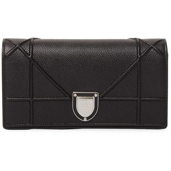 Dior Women's Convertible Leather Clutch - Black ($719) ❤ liked on Polyvore featuring bags, handbags, clutches, black, genuine leather handbags, chain strap handbags, christian dior purses, flap handbags and leather flap handbags