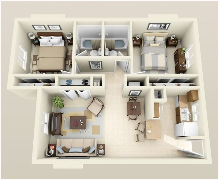 25+ best ideas about Two bedroom apartments on Pinterest | 3d ...