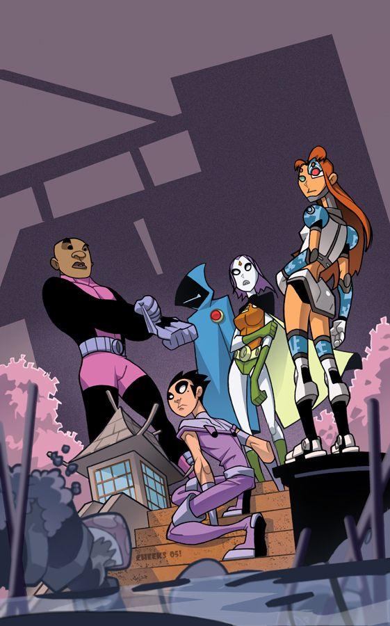 Teen Titans Go! - Starfire, Raven, Robin, Beast Boy: powerbending, dc comics [ cover by cheeks-74 (Sean Galloway) ]