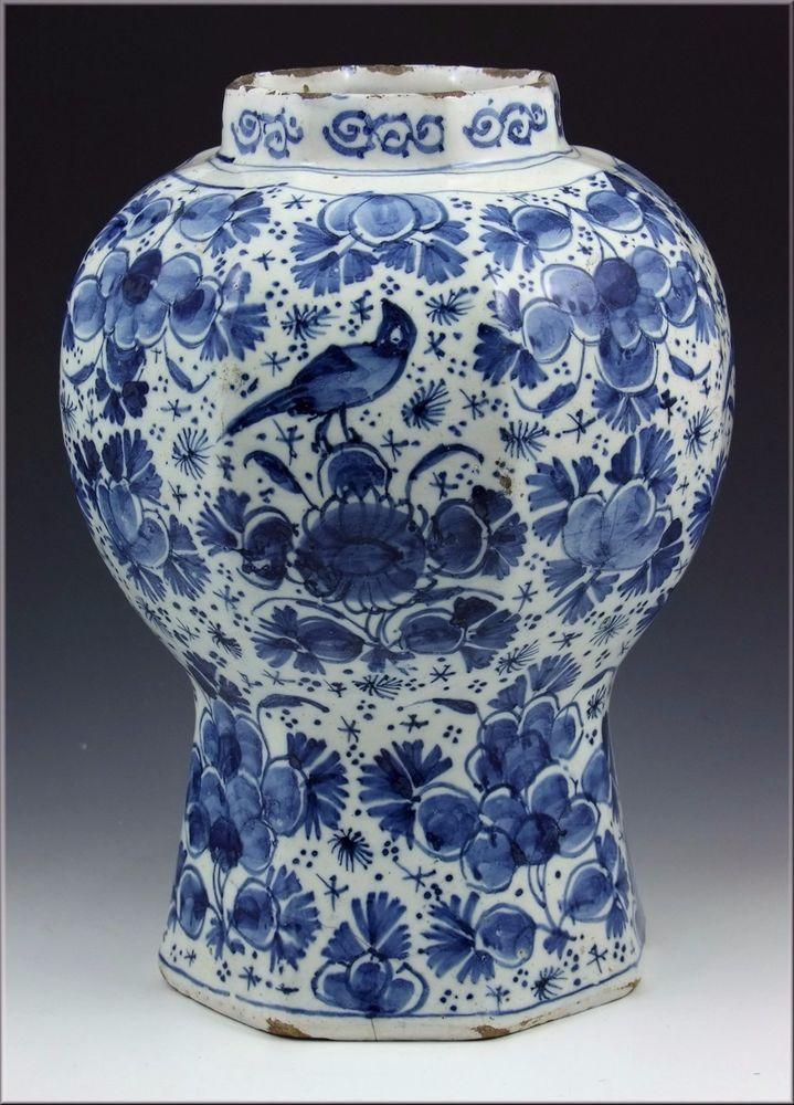 wonderful 18th century delft pottery vase w underglaze blue flowers