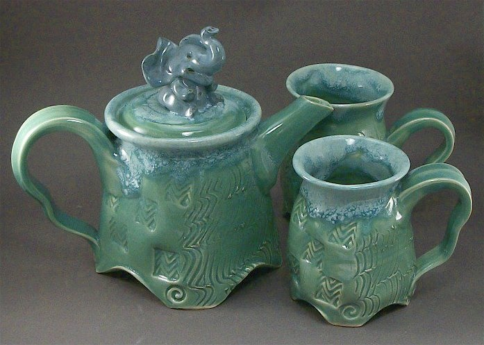 elephant teaset that I made, with wavy groovy texture