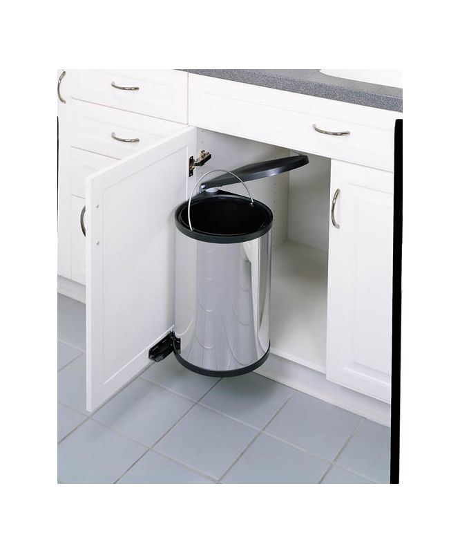 Rev-A-Shelf 8-010314-15 8-010 Series Pivot Out Trash Can with Lid - 16 Quart Cap Stainless Steel / Black Trash Cans 1 Bin Pivot Out