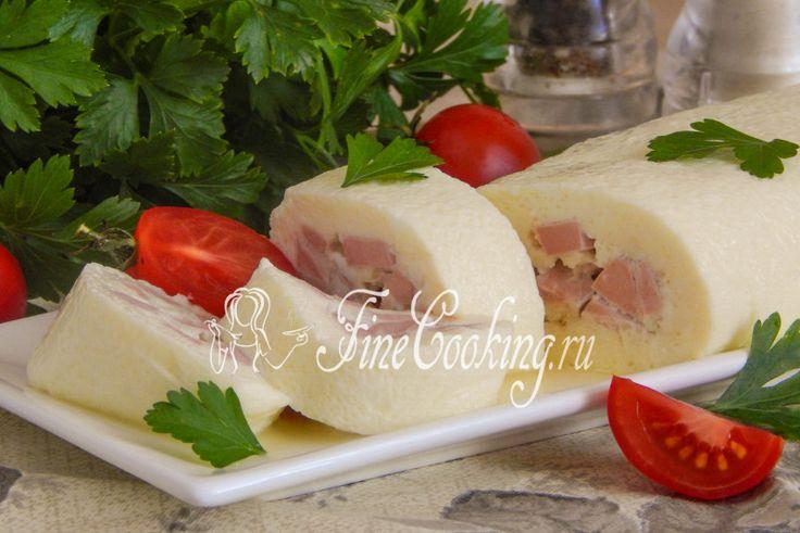 Вареный омлет с колбасой - рецепт с фото