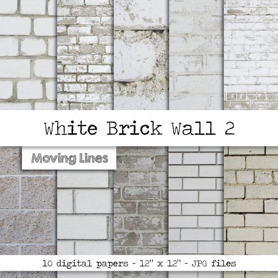 White Brick Wallpaper Digital Paper Pack Instant by MovingLines