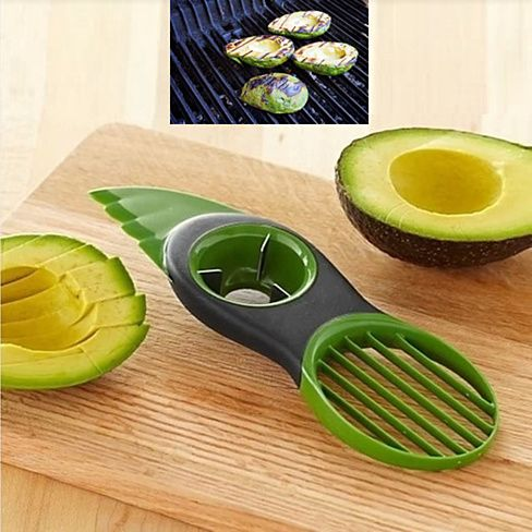 3 in 1 Tool. The zigzag knife cuts the skin of the avocado and the blades cut the avocado in uniform slices. Both are made of BPA Free plastic and are safe to the touch. The circular pitter has stainless steel blades that scoop the pit out.