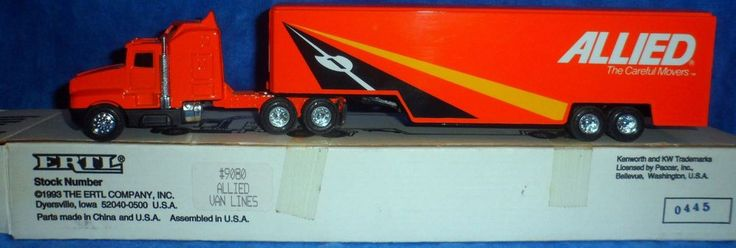 Ertl ALLIED MOVING VAN Kenworth cab/Drop-bed trailer 1993 1/64 Die Cast Metal E2 #Ertl #Kenworthcab
