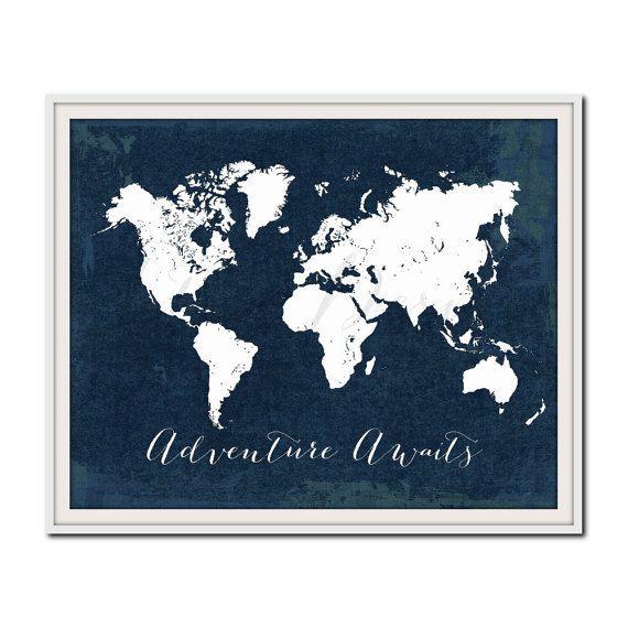 Attend marine pépinière Print, impression de carte mondiale, Travel Poster, aventure, voyage devis impression, Wanderlust, nautique, pépinière voyage Print