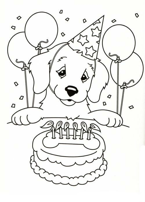 how to draw cute dog birthday cake coloring pages for kids