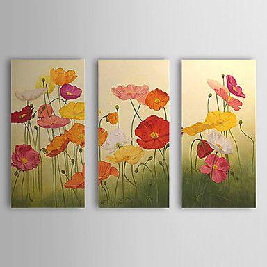 Hand geschilderd olieverfschilderij Bloemen Popies met gestrekte frame Set van 3