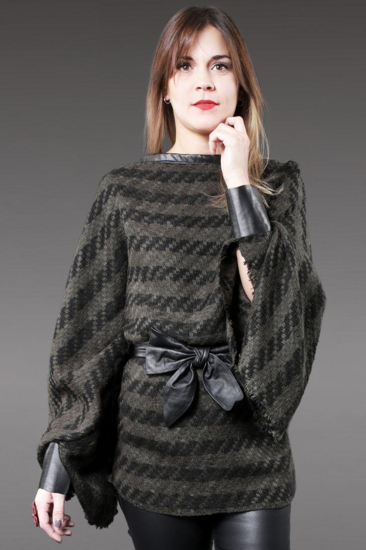 Sweter Tejido Verde y Negro