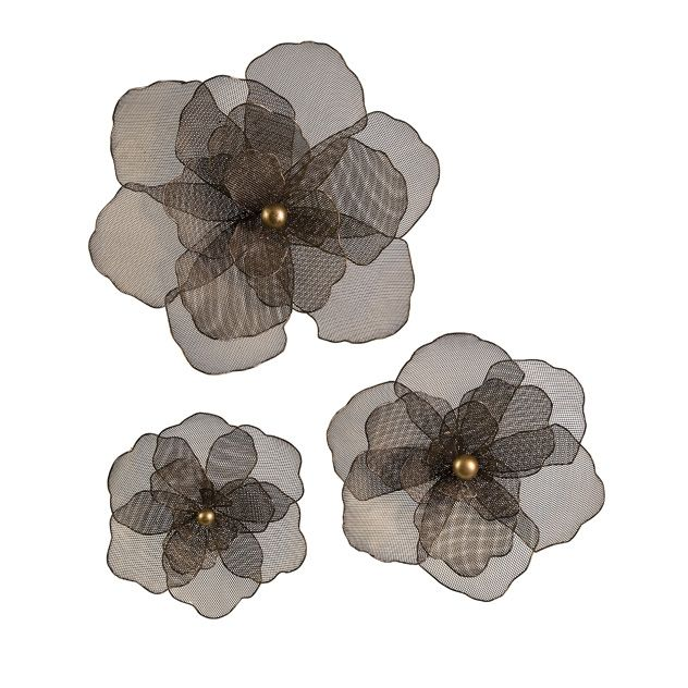 Astaire Flower Wall Decor - Set of 3 - Channeling the sophistication of the 1930s and adding a bit of whimsy, wire mesh flower designs from the Parisienne Collection are sure to appeal to the shopper who wants a dramatic look. IMAX Exclusive. In Store Now
