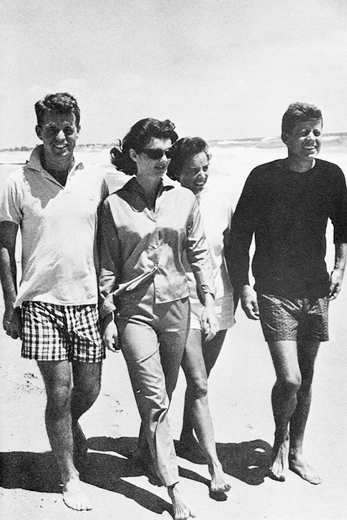 Robert F. Kennedy, Jacqueline Kennedy, Ethel Kennedy & John F. Kennedy at Hyannis Port, Massachusetts, 1960.