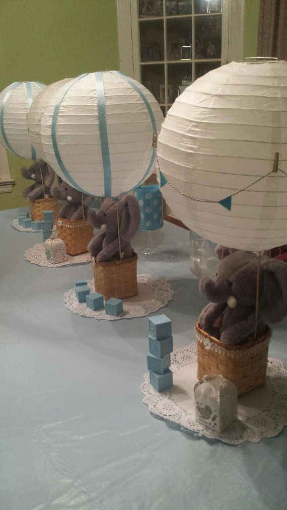 Elephant Hot Air Balloon Baby Shower Centerpiece Birthday Party