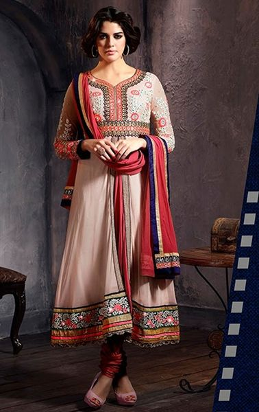 Picture of Splendorous Beige and Red Online Salwar Kameez