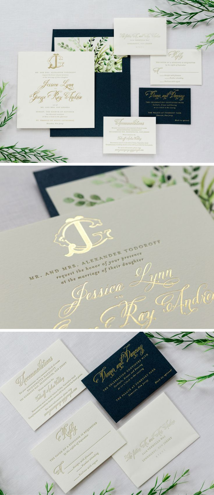 Gold foil monogram and letterpress wedding invitation
