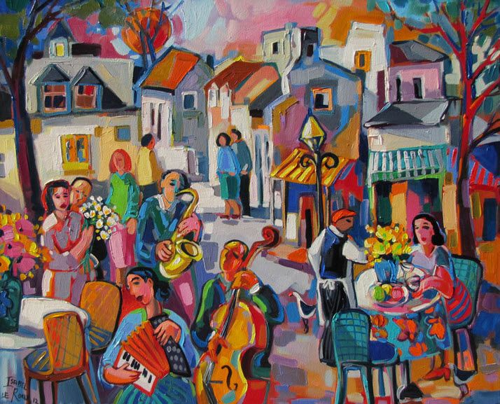 "Painting by Isabel Le Roux ""Street Musicians"", South africa http://www.isabelleroux.co.za/cityscapes.html"